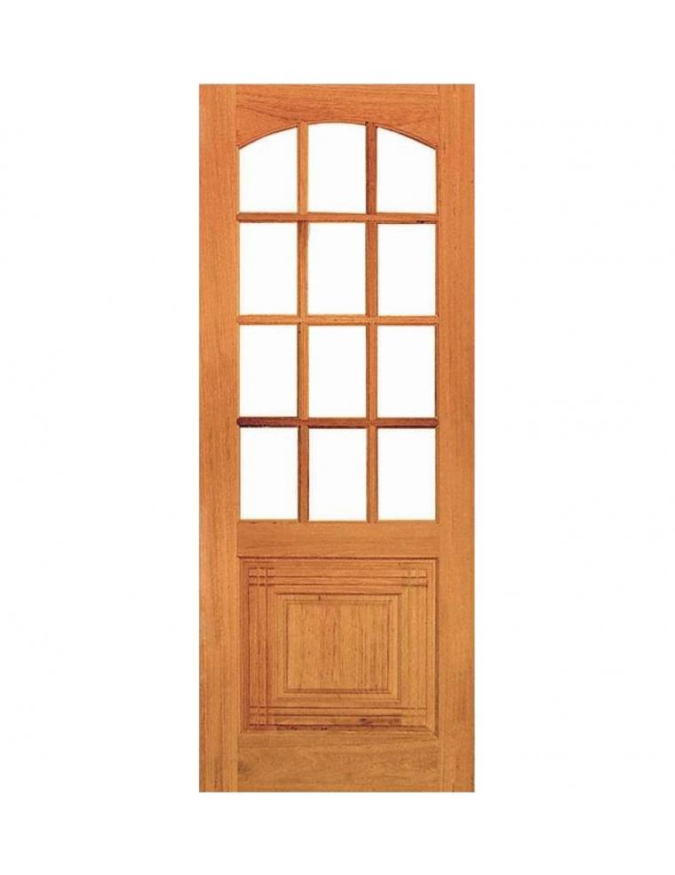 Porta de madeira vidro quadriculada com almofada cai ara for Porta or
