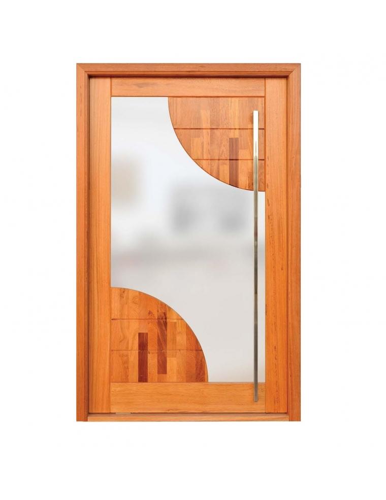 Porta de entrada sara madeira maci a e vidro mini for Porta or