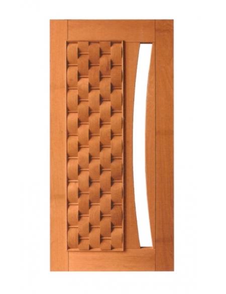 Porta Pivotante Couros com Visor - Madeira Maciça - Angelim