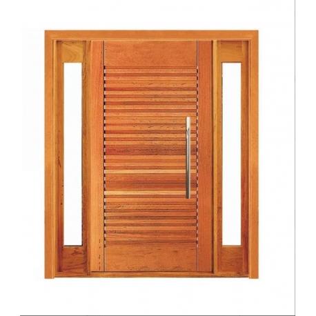 Porta Pivotante Buritis com Visor Lateral Duplo - Madeira Maciça - Angelim