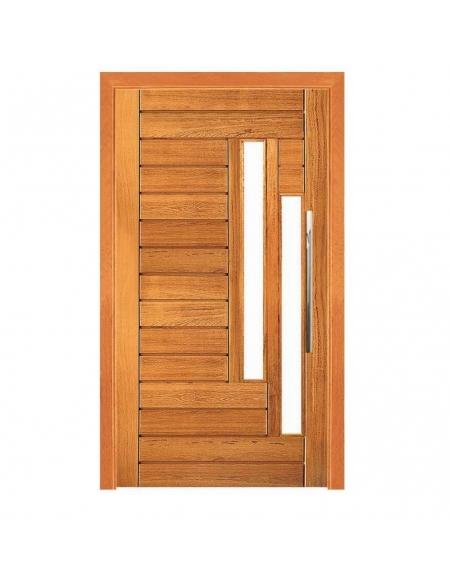 Porta Pivotante Contemporânea com 2 Visores - Madeira Maciça - Angelim