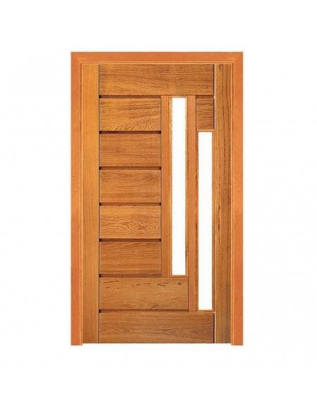 Porta Pivotante Horizontal com 2 Visores - Madeira Maciça - Angelim